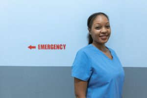 nurse wearing blue